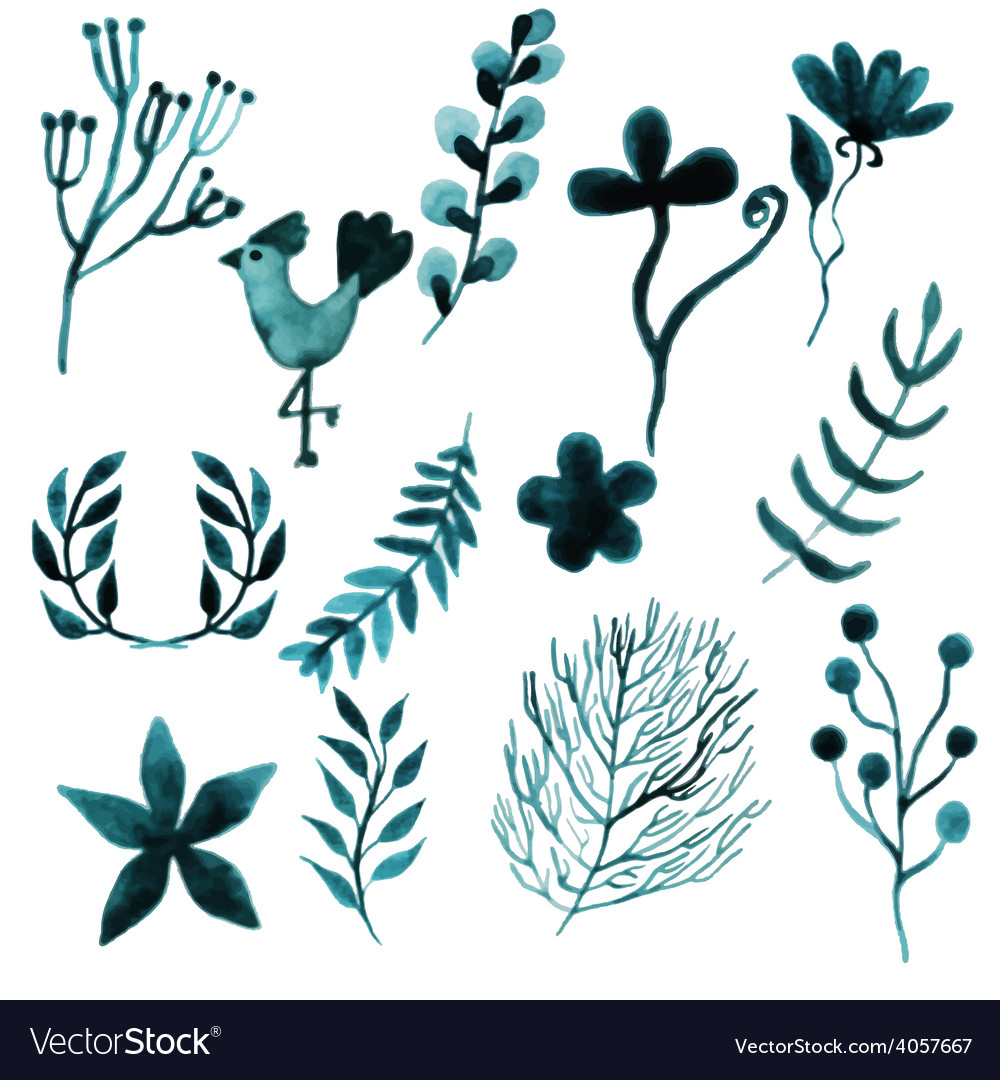 Watercolor set floral design elements for party vector | Price: 1 Credit (USD $1)