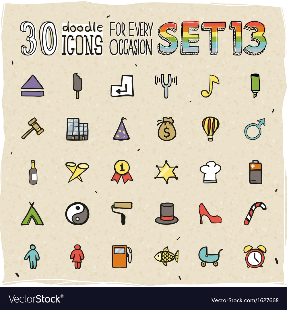 30 colorful doodle icons set 13 vector | Price: 1 Credit (USD $1)