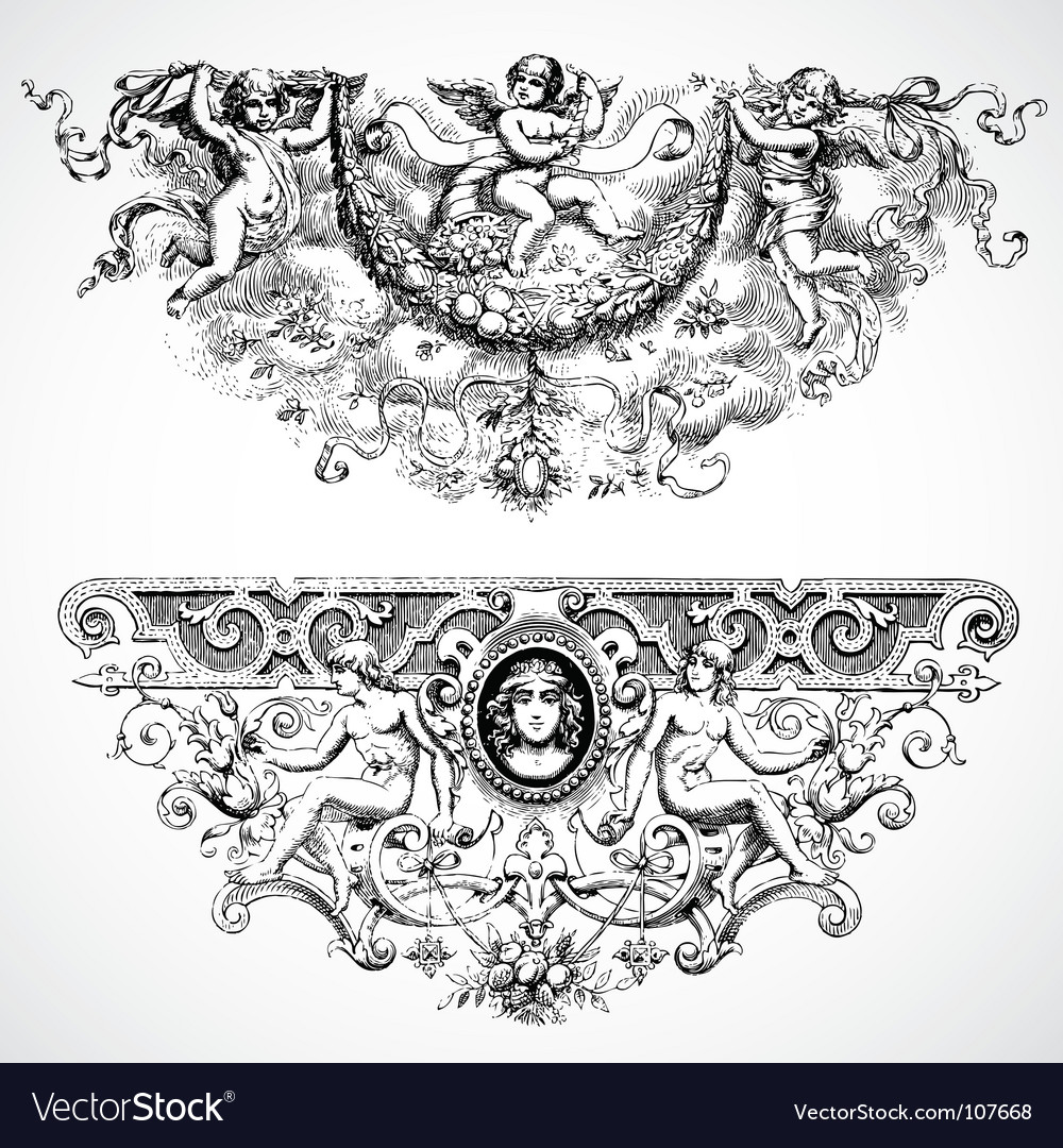 Baroque backgrounds vector | Price: 1 Credit (USD $1)