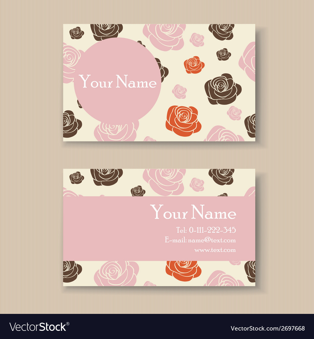 Business card with roses vector | Price: 1 Credit (USD $1)