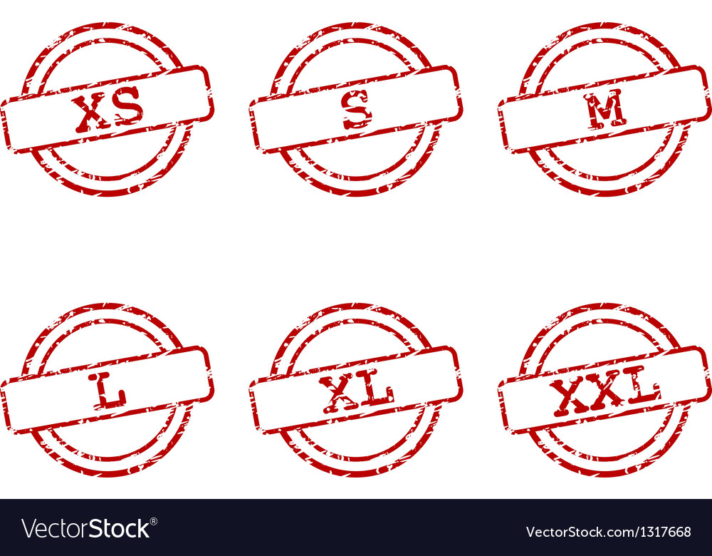 Clothing size stamps vector   Price: 1 Credit (USD $1)