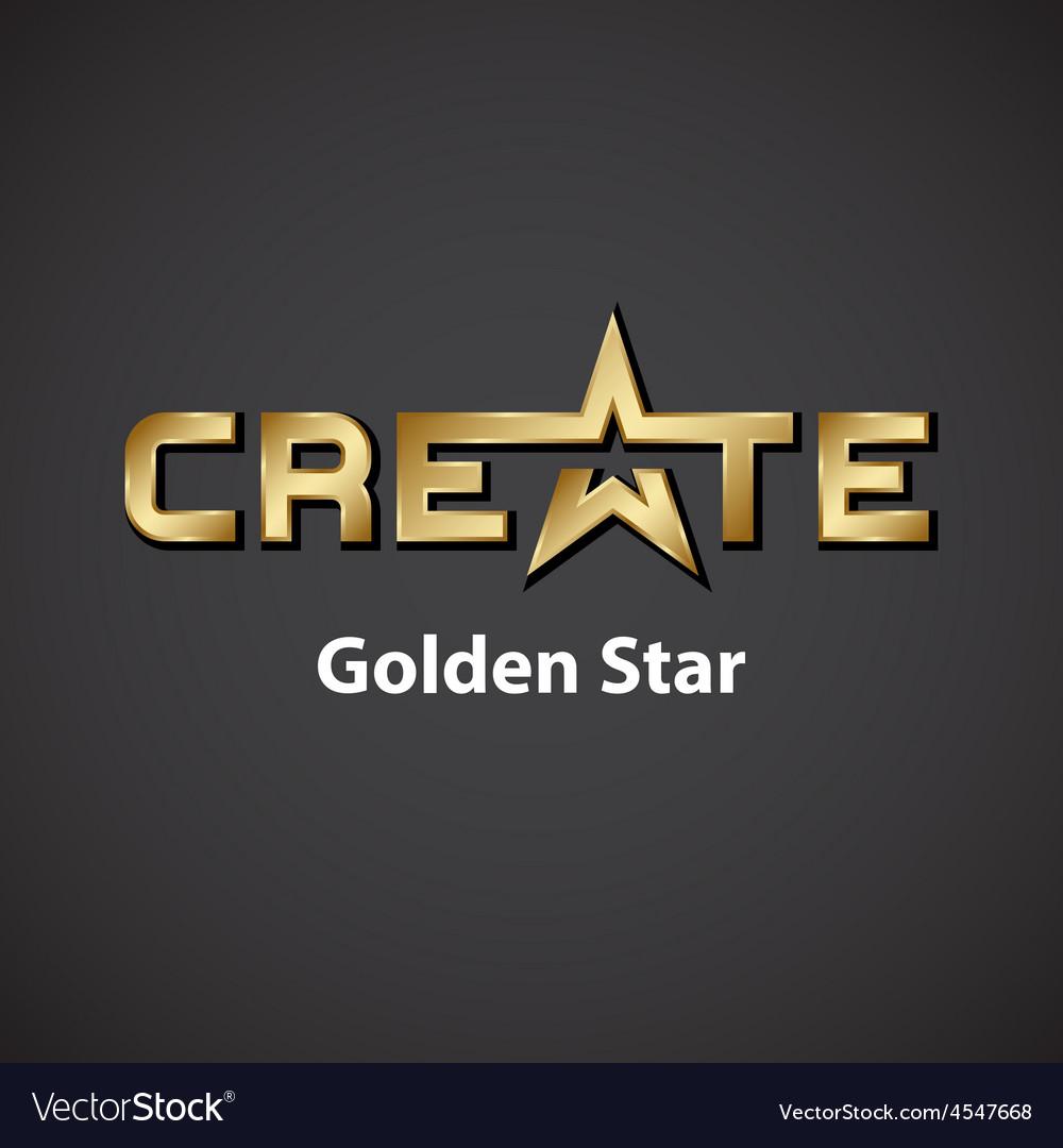 Create golden star inscription icon vector | Price: 1 Credit (USD $1)