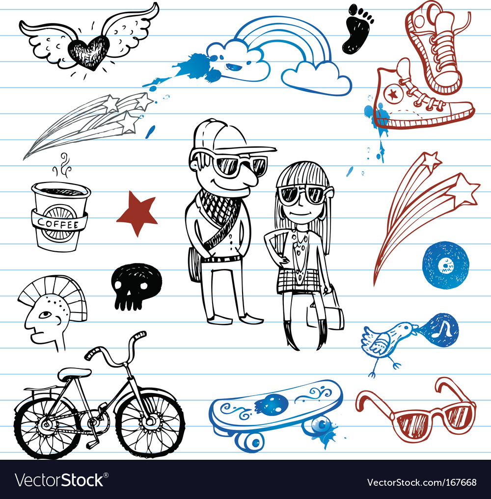 Hipsters doodles vector | Price: 1 Credit (USD $1)