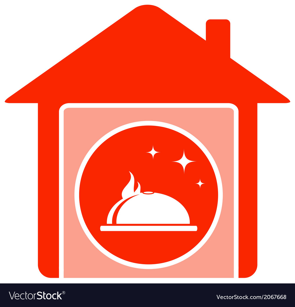 Home food symbol with house and dish vector | Price: 1 Credit (USD $1)