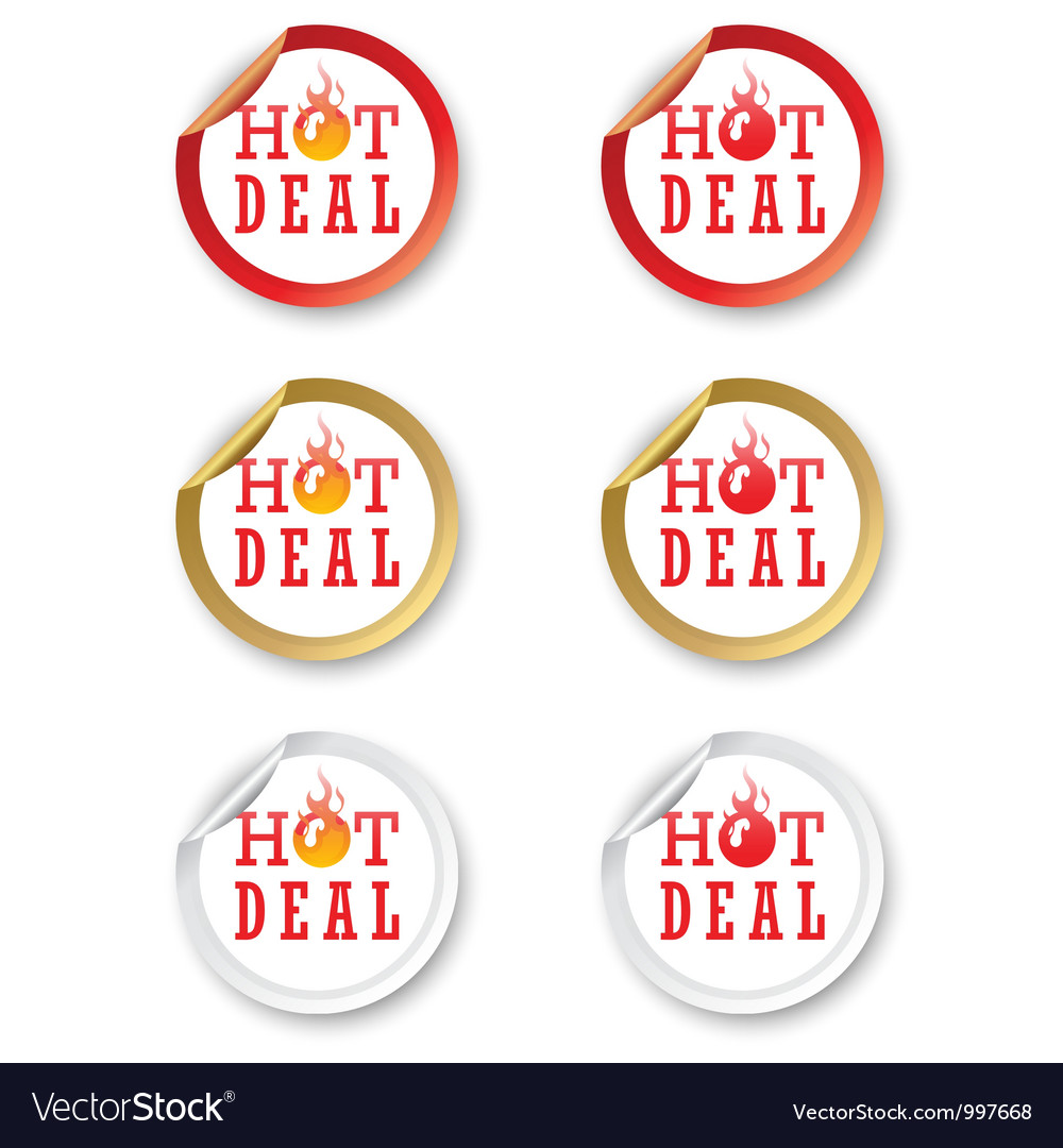 Hot deal stickers vector | Price: 1 Credit (USD $1)
