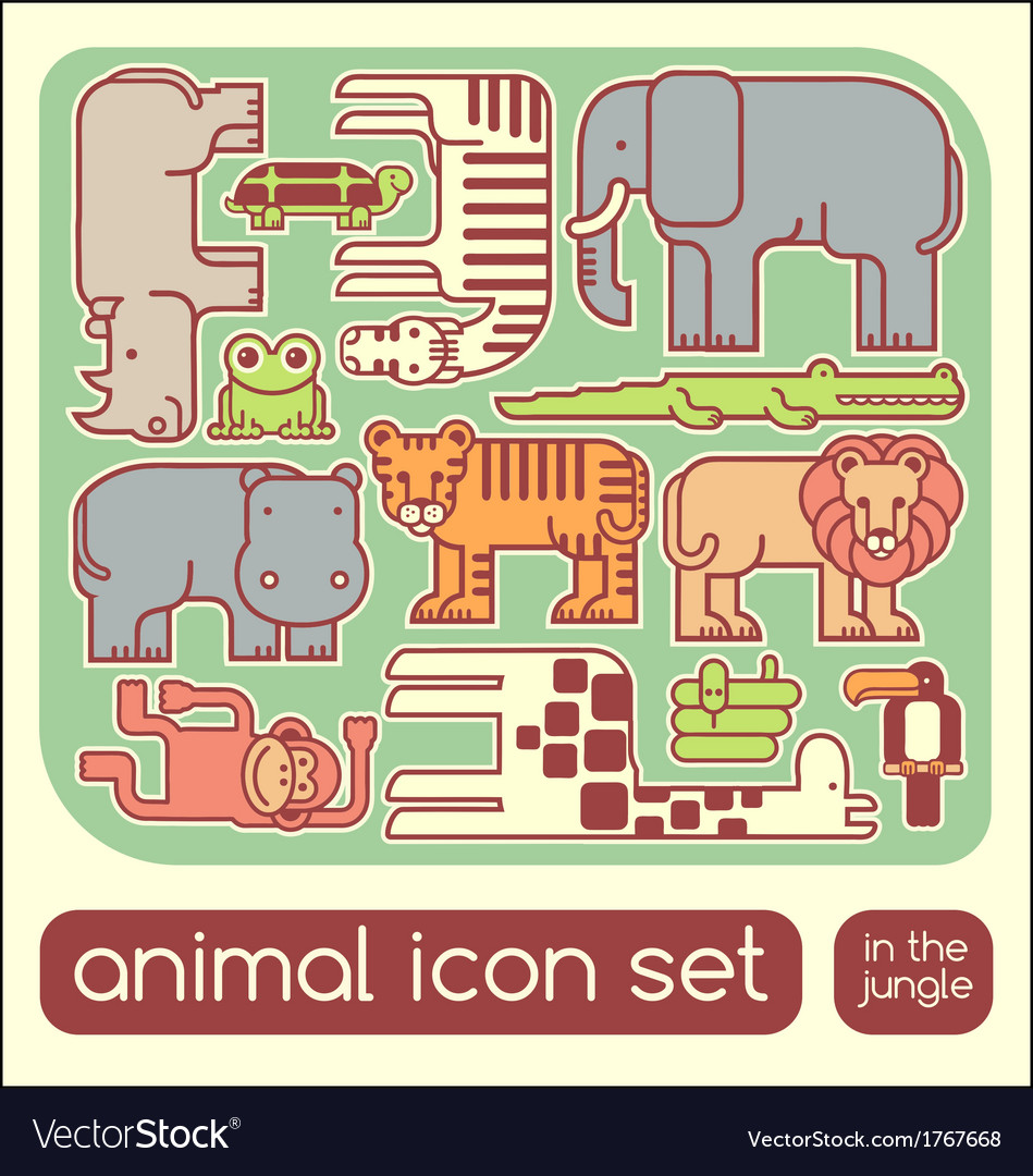 Jungle animals set vector | Price: 1 Credit (USD $1)