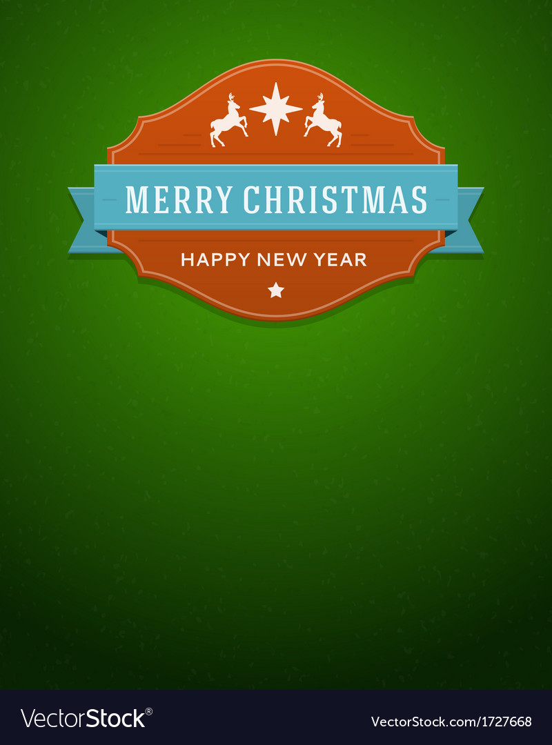 Merry christmas card label and ribbon vector | Price: 1 Credit (USD $1)