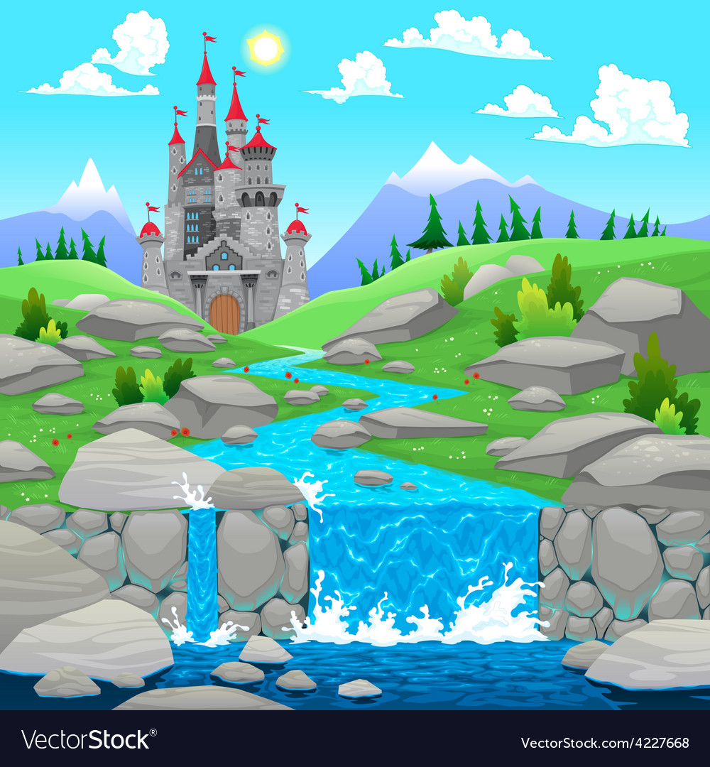 Mountain landscape with river and castle vector | Price: 3 Credit (USD $3)