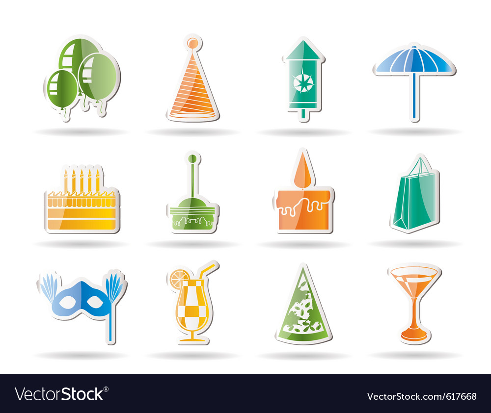 Party and holidays icons vector | Price: 1 Credit (USD $1)