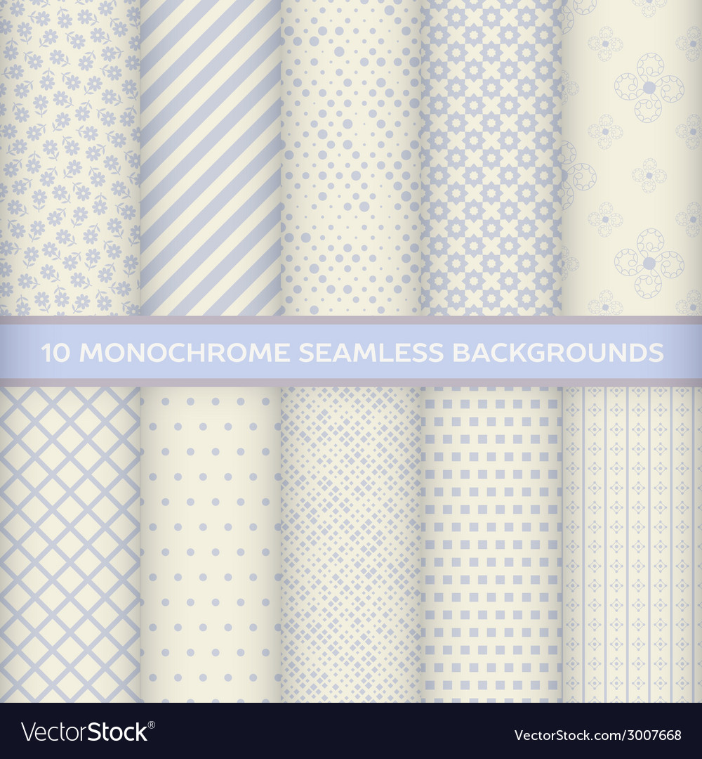 Set of monochrome seamless backgrounds vector | Price: 1 Credit (USD $1)