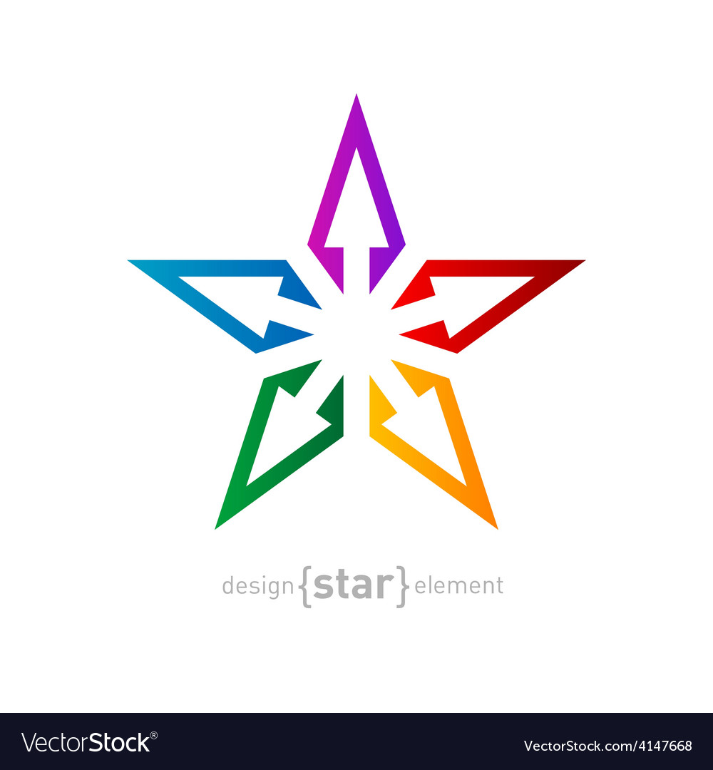 Spectrum star abstract design element on white vector | Price: 1 Credit (USD $1)