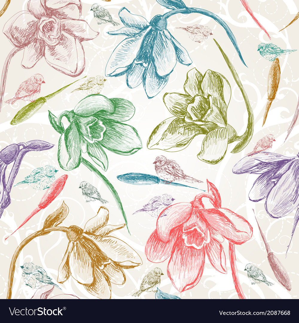 Spring seamless snowdrops flowers and birds vector | Price: 1 Credit (USD $1)