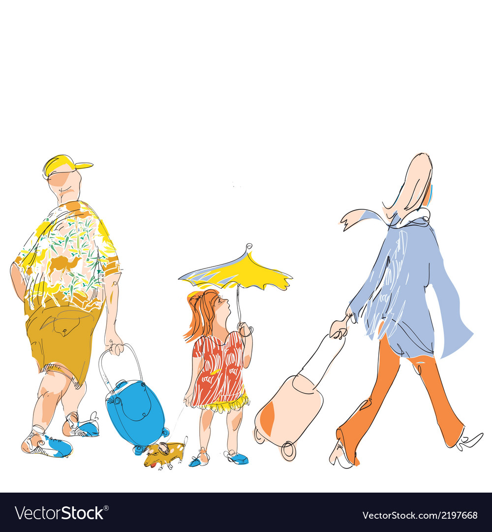 Travel family vector | Price: 1 Credit (USD $1)