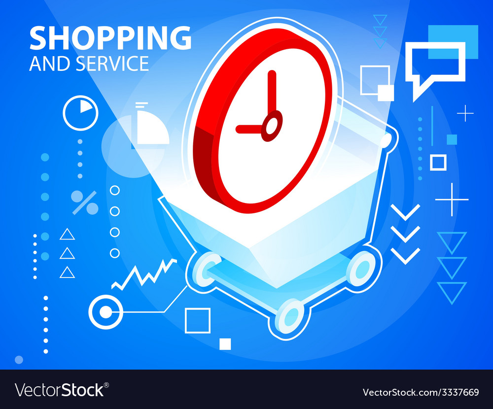 Bright shopping trolley and clock on blue ba vector   Price: 3 Credit (USD $3)