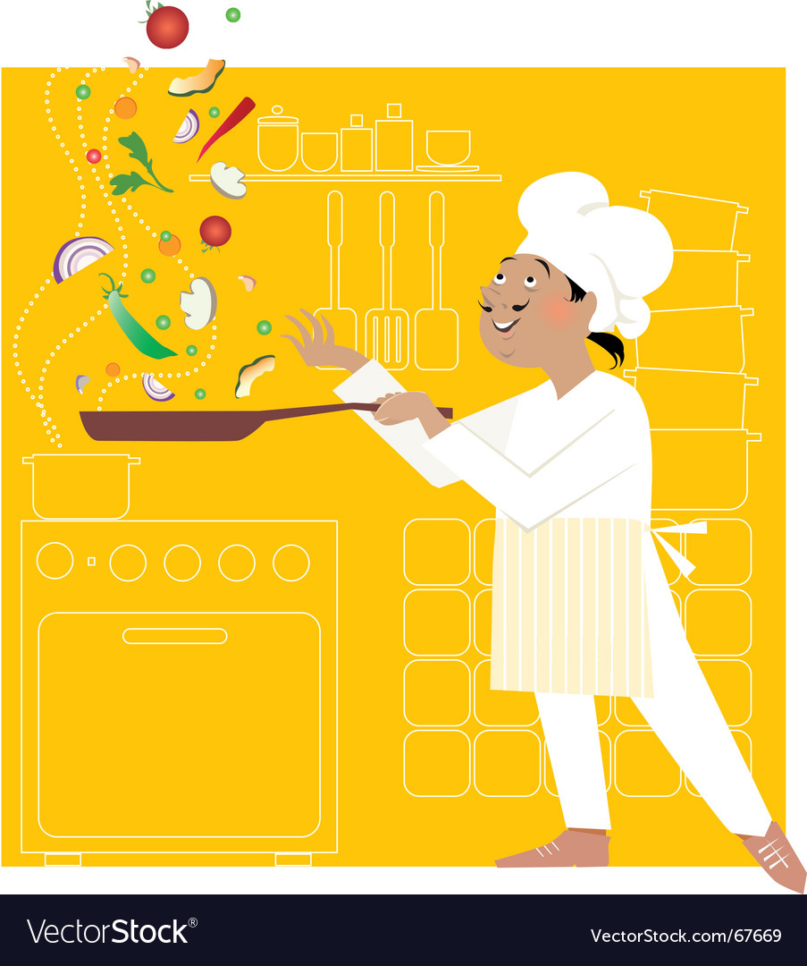 Chef in the kitchen vector | Price: 3 Credit (USD $3)