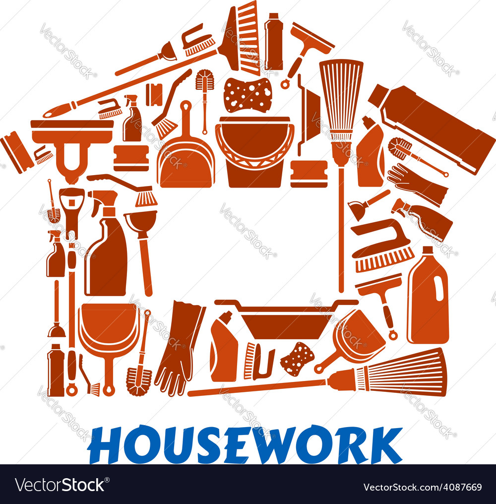 Cleaning tools and supplies in house shape vector | Price: 1 Credit (USD $1)