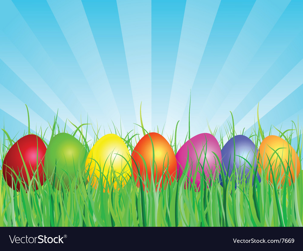 Easter eggs in grass vector | Price: 3 Credit (USD $3)