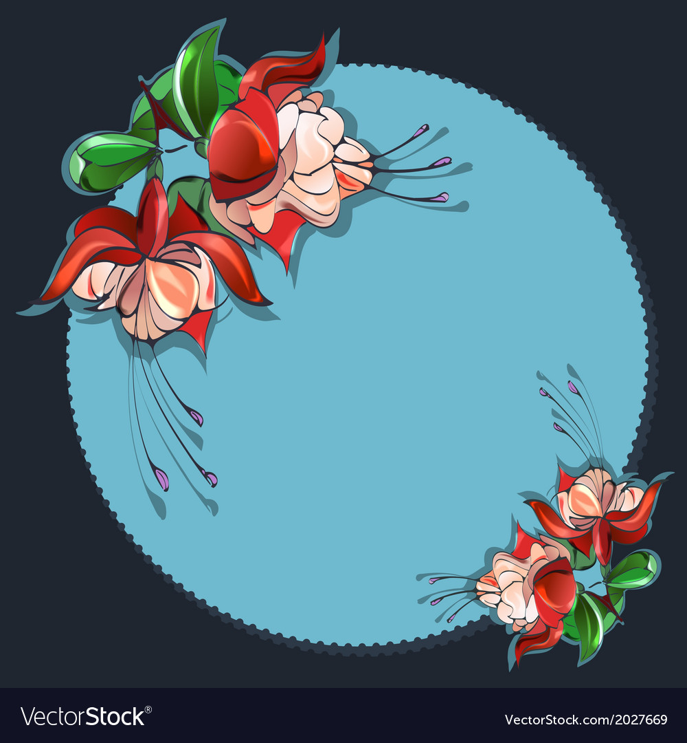 Floral frame fuchsia vector   Price: 1 Credit (USD $1)