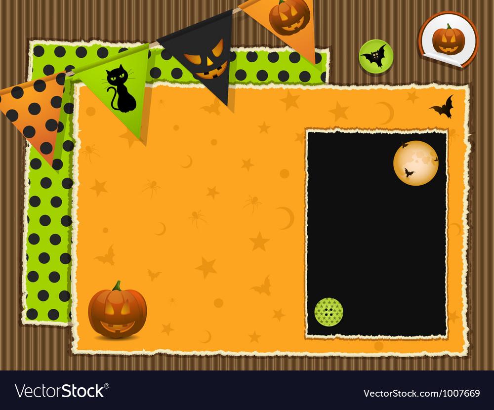 Halloween scrapbook background vector
