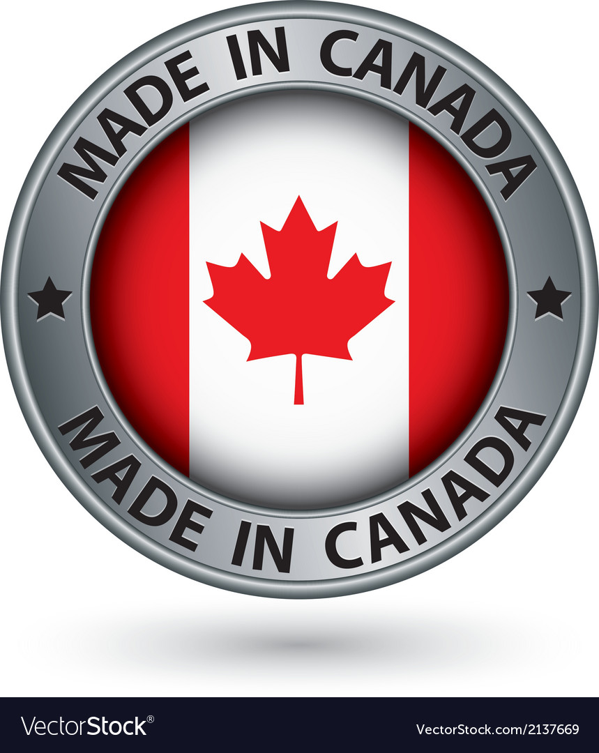 Made in canada silver label with flag vector | Price: 1 Credit (USD $1)