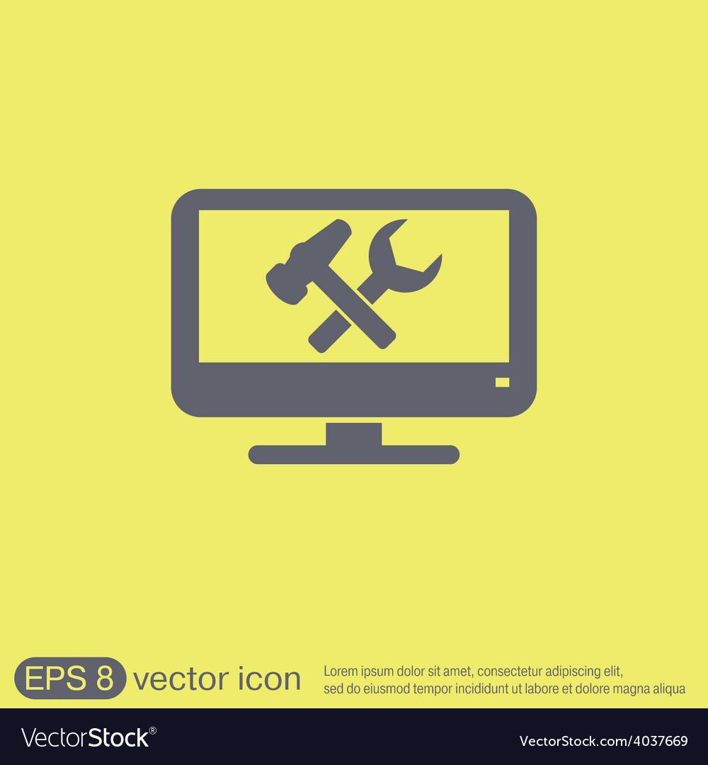 Monitor symbol settings icon computer settings vector | Price: 1 Credit (USD $1)