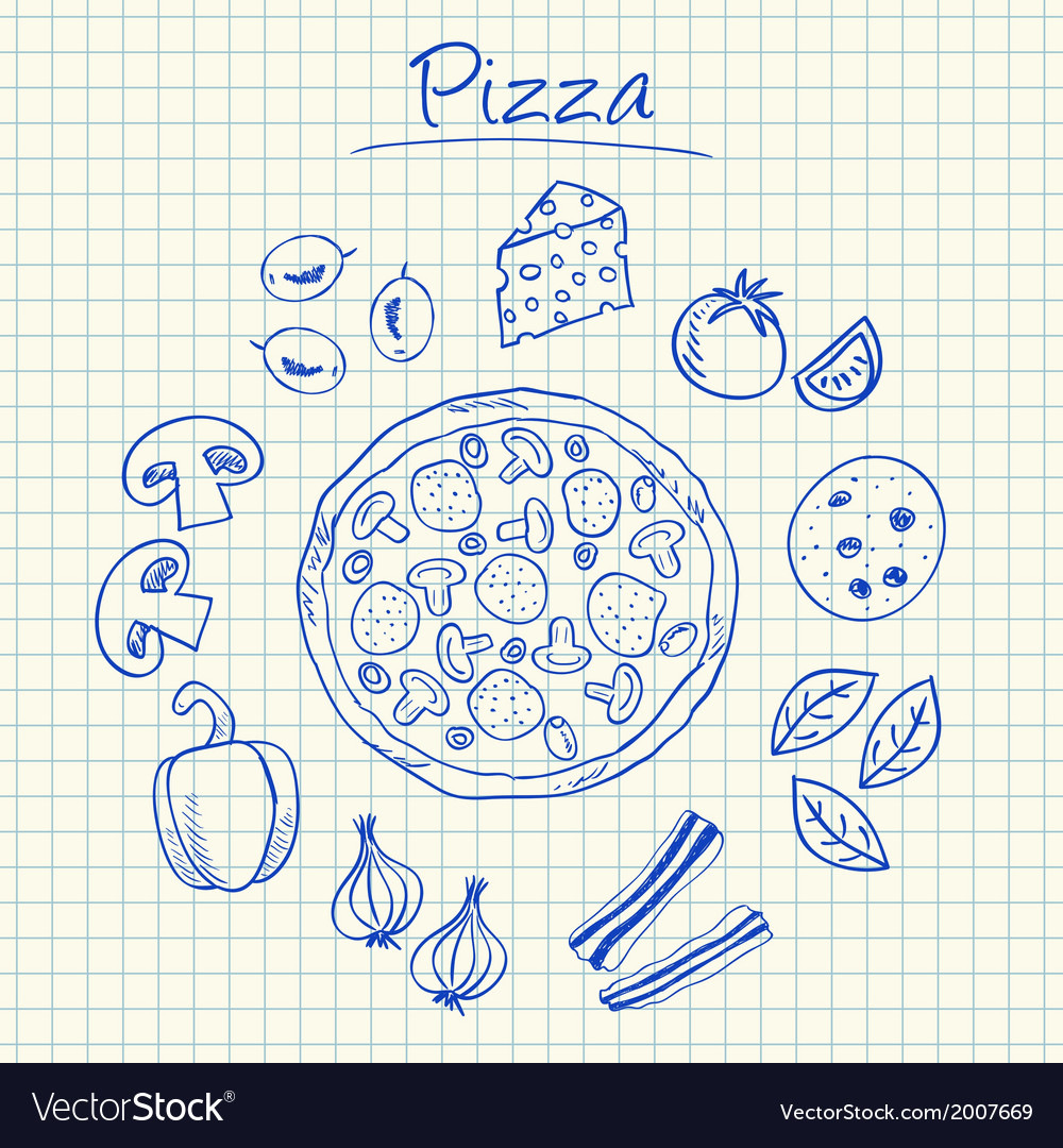 Pizza doodles squared paper vector | Price: 1 Credit (USD $1)