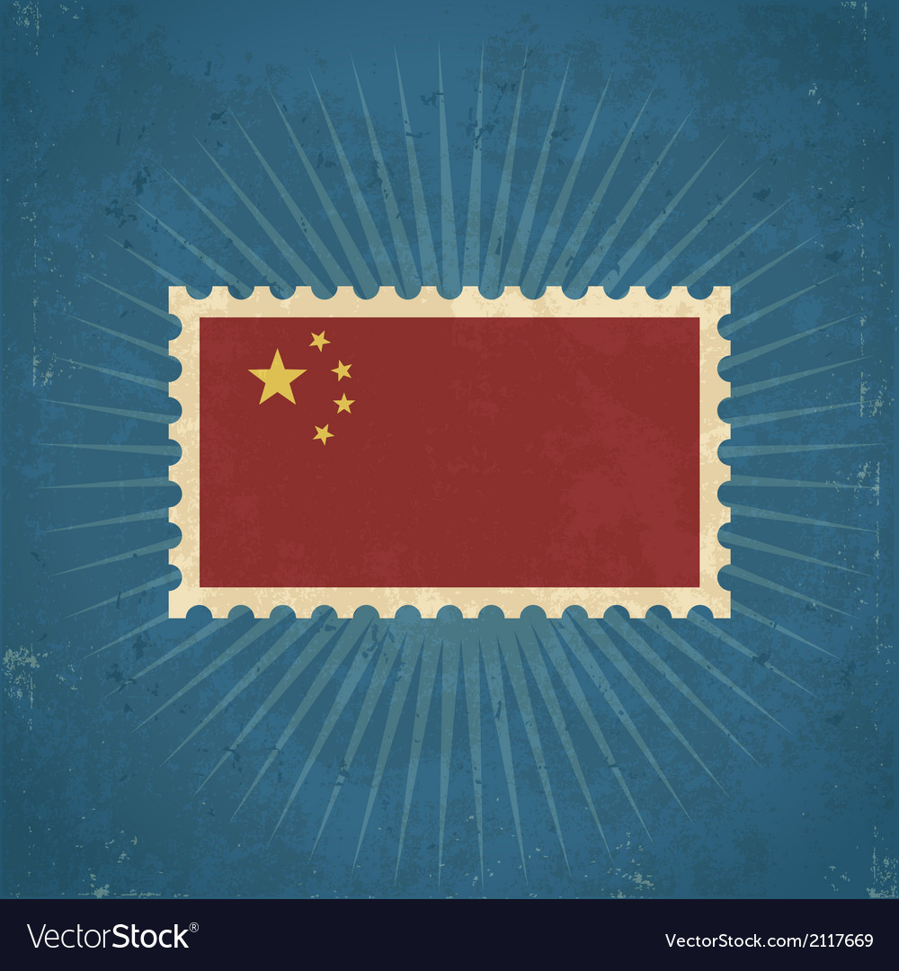 Retro china flag postage stamp vector | Price: 1 Credit (USD $1)