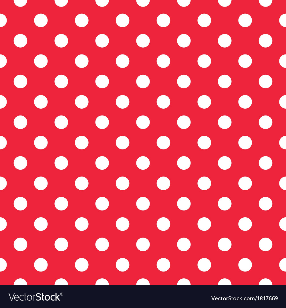 Seamless white polka dots on red background vector | Price: 1 Credit (USD $1)