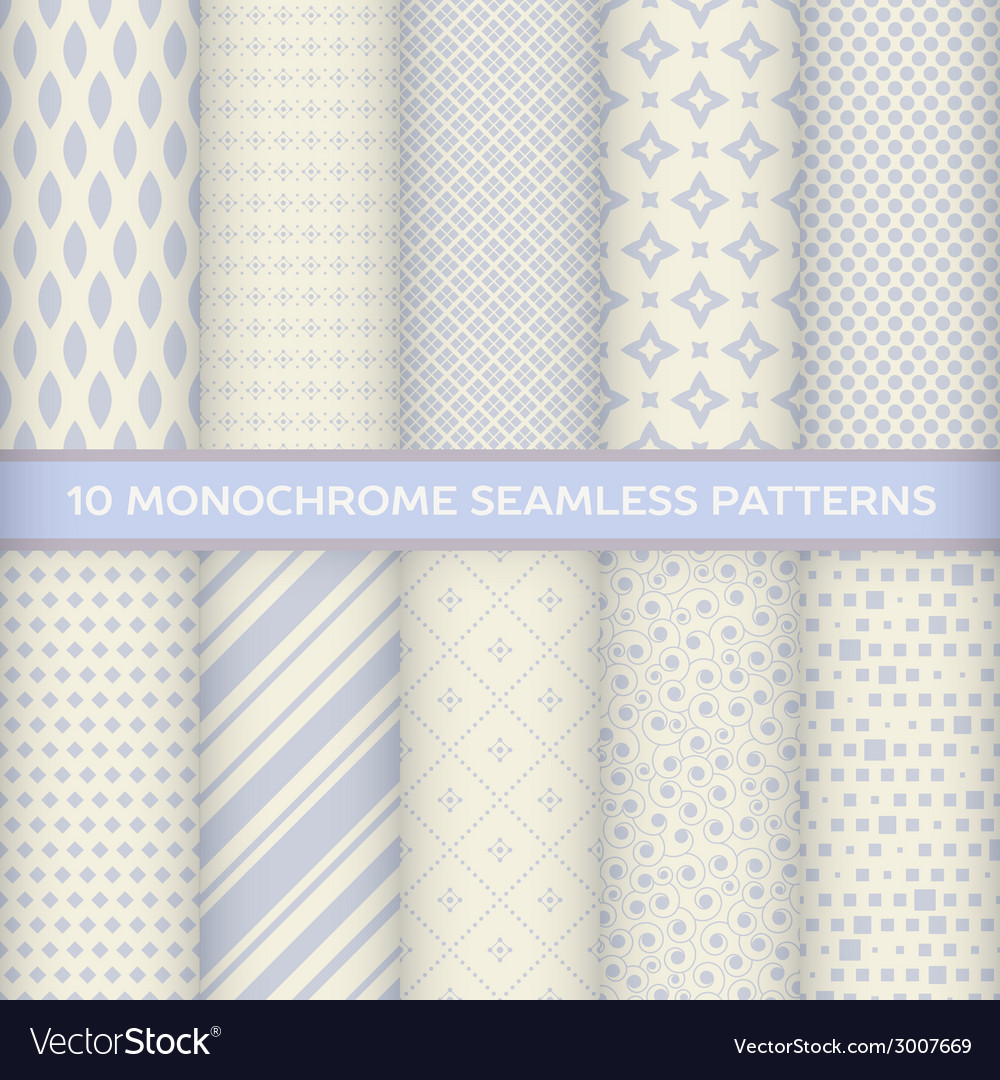 Set of monochrome seamless patterns vector | Price: 1 Credit (USD $1)