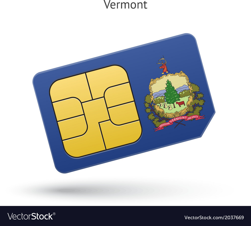 State of vermont phone sim card with flag vector | Price: 1 Credit (USD $1)