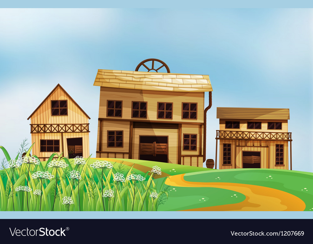 Wooden houses vector | Price: 1 Credit (USD $1)