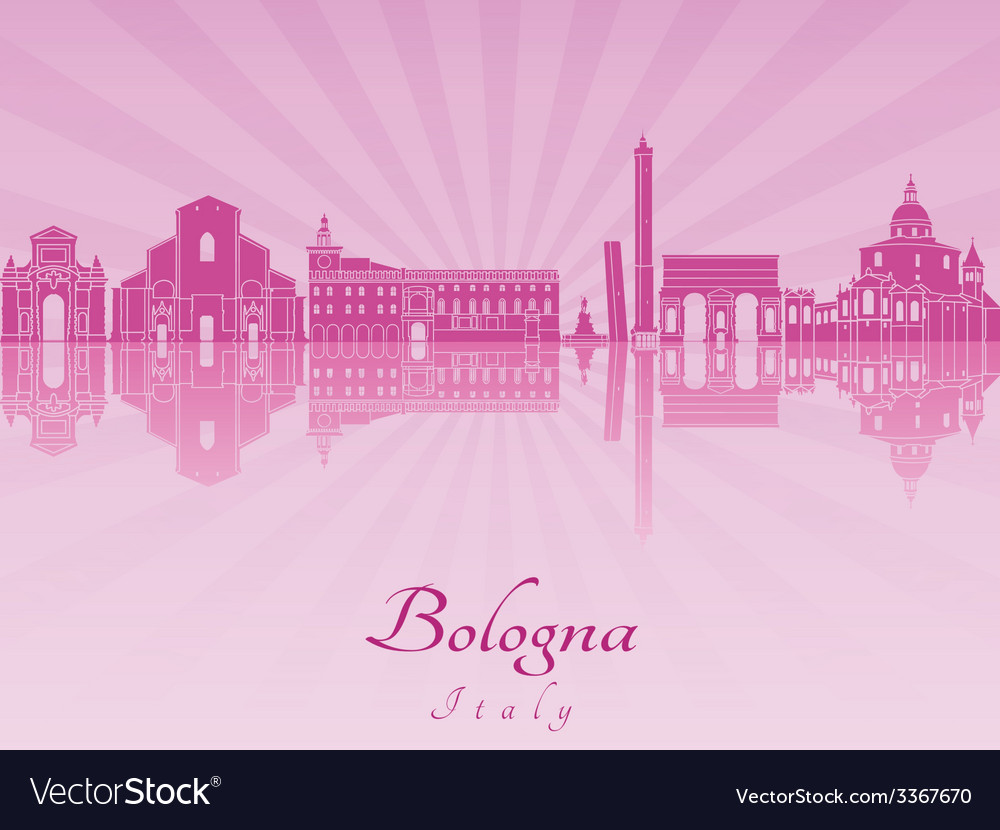 Bologna skyline in purple radiant orchid vector | Price: 1 Credit (USD $1)
