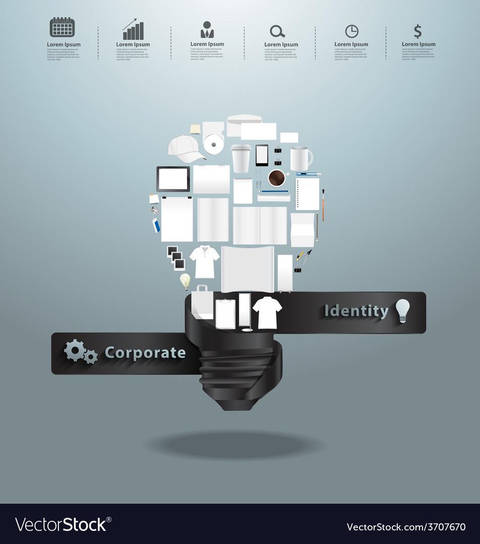 Corporate identity templates with light bulb idea vector | Price: 1 Credit (USD $1)