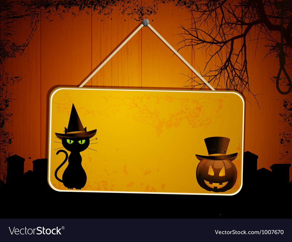 Halloween sign on wood vector | Price: 1 Credit (USD $1)