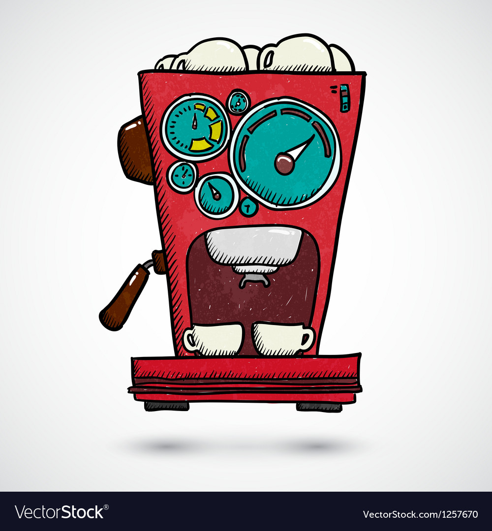 Hand drawn coffee machine vector | Price: 1 Credit (USD $1)