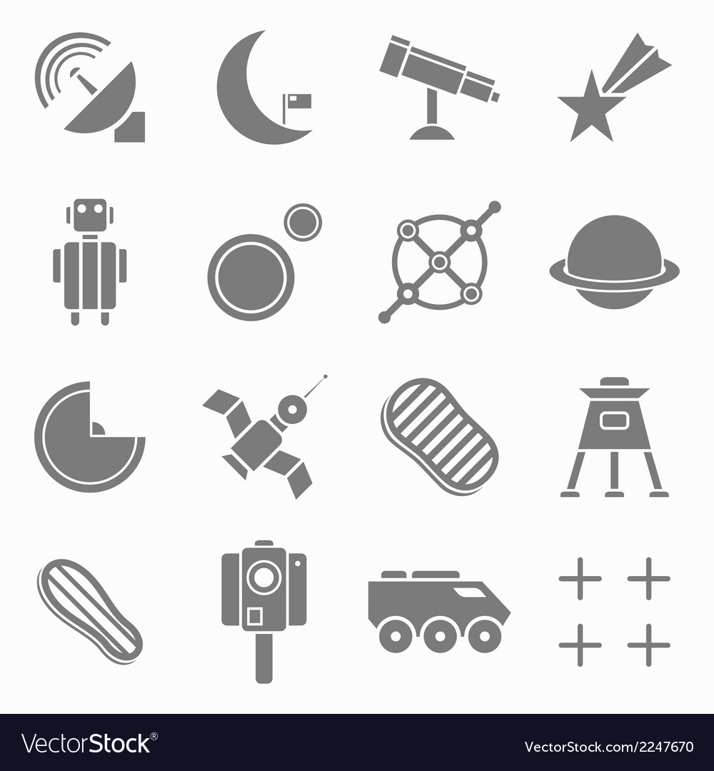 Icons space in flat style gray on white set 2 vector | Price: 1 Credit (USD $1)