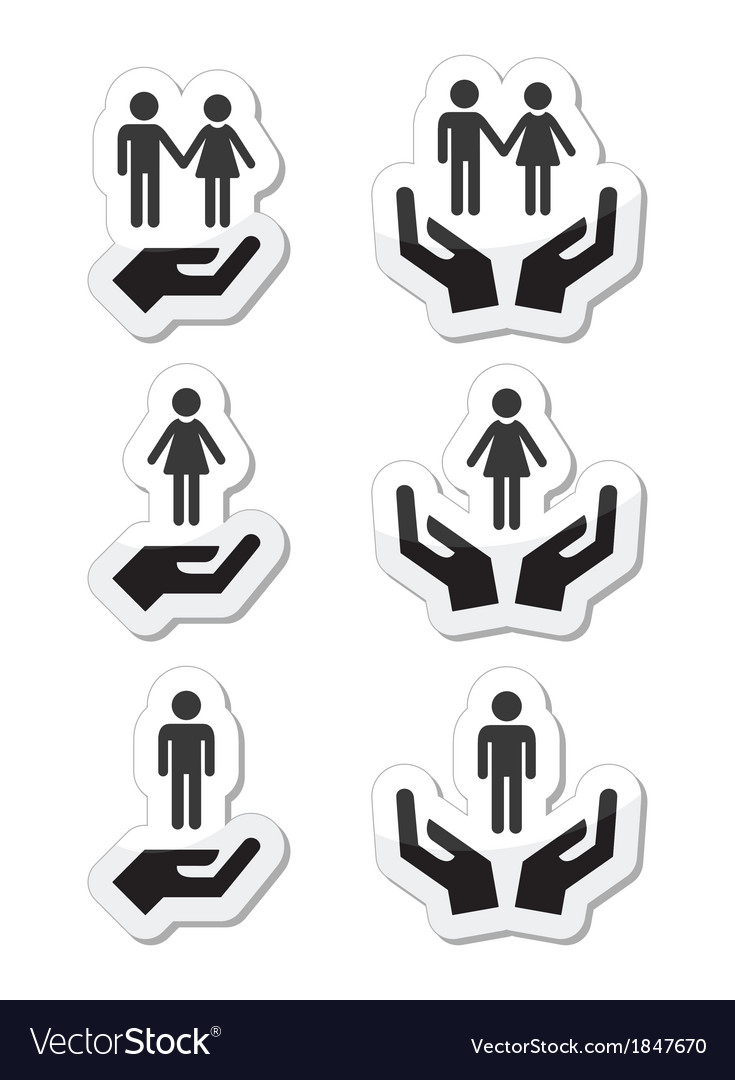 Man woman and couples with hands icons set vector | Price: 1 Credit (USD $1)