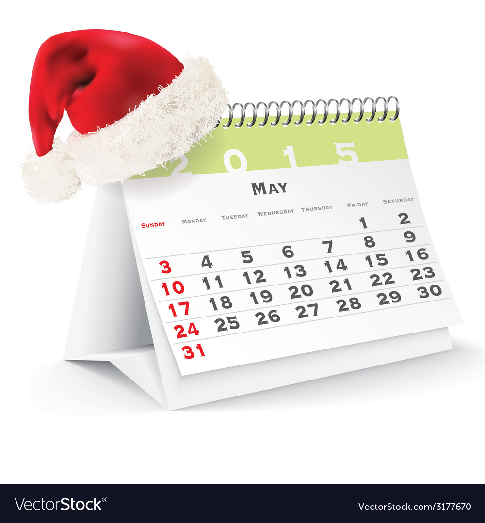 May 2015 desk calendar with christmas hat vector | Price: 1 Credit (USD $1)