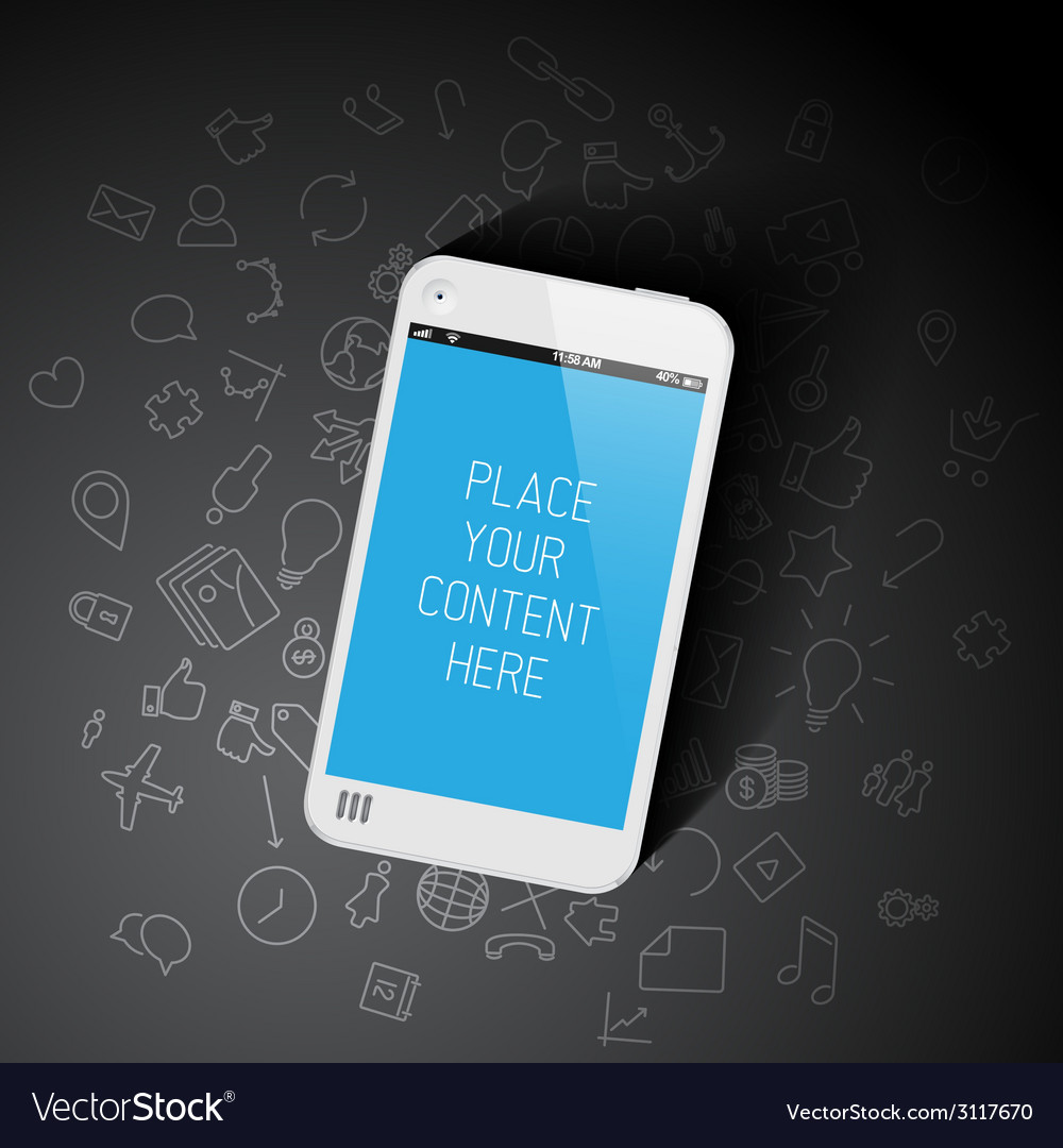 Realistic smartphone template with background vector | Price: 1 Credit (USD $1)