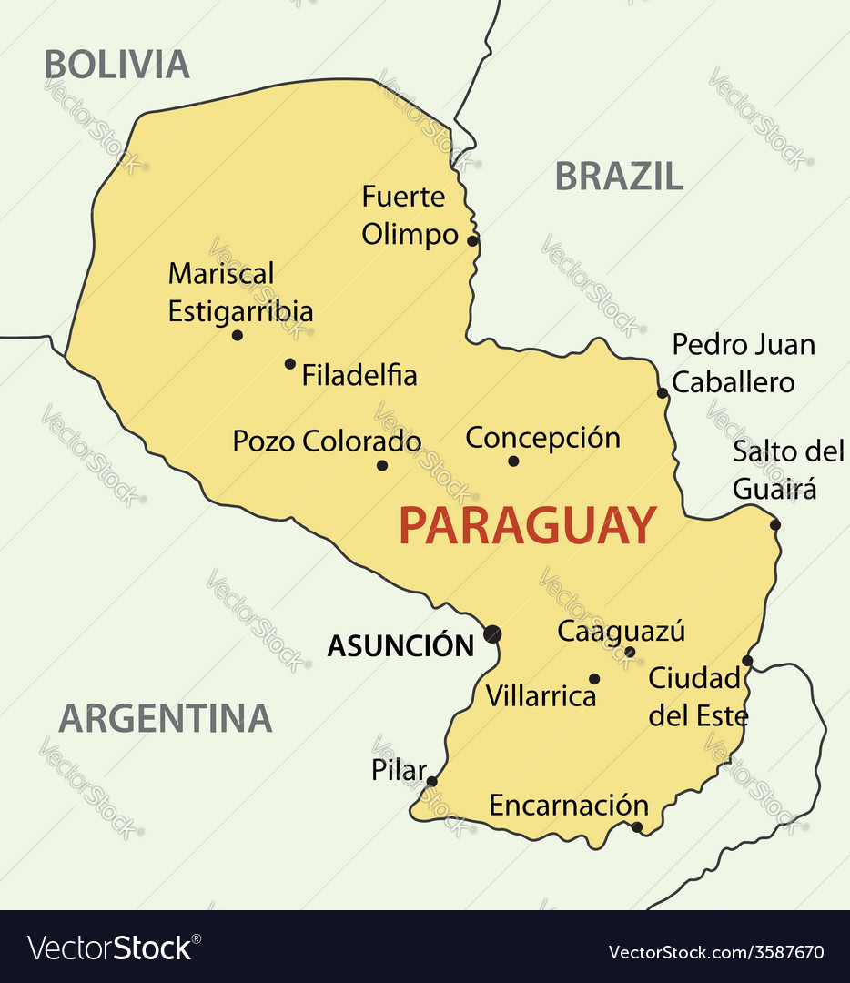 Republic of paraguay - map vector | Price: 1 Credit (USD $1)