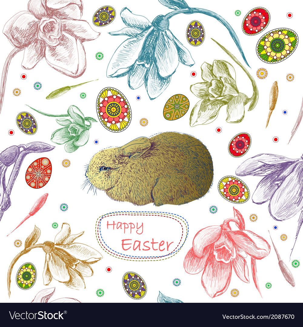 Seamless pattern with easter eggs and rabbit vector | Price: 1 Credit (USD $1)