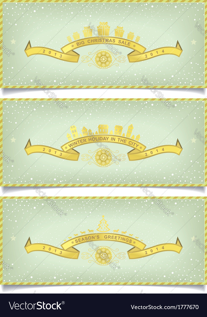Set of winter banners with holidays design vector | Price: 1 Credit (USD $1)