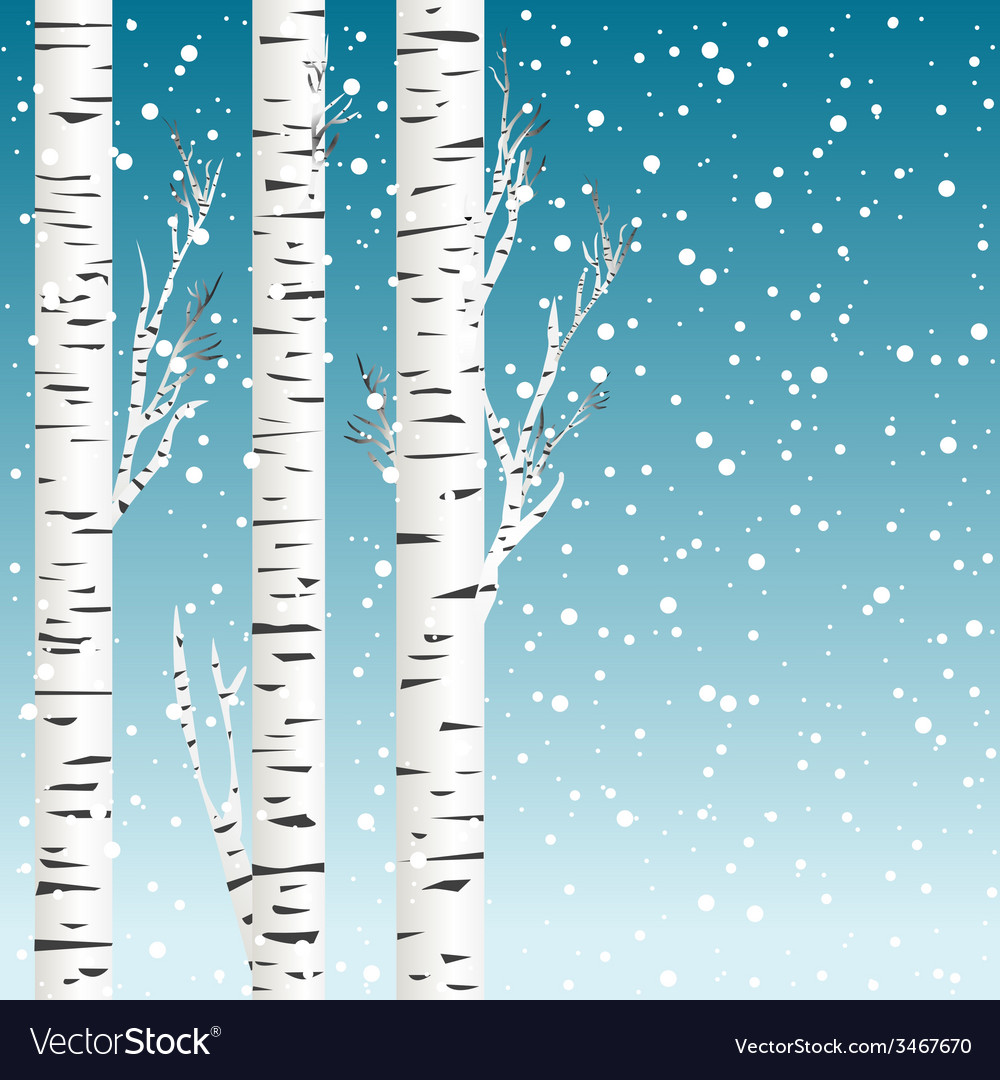 Winter background with birch trees and snowflakes vector | Price: 1 Credit (USD $1)