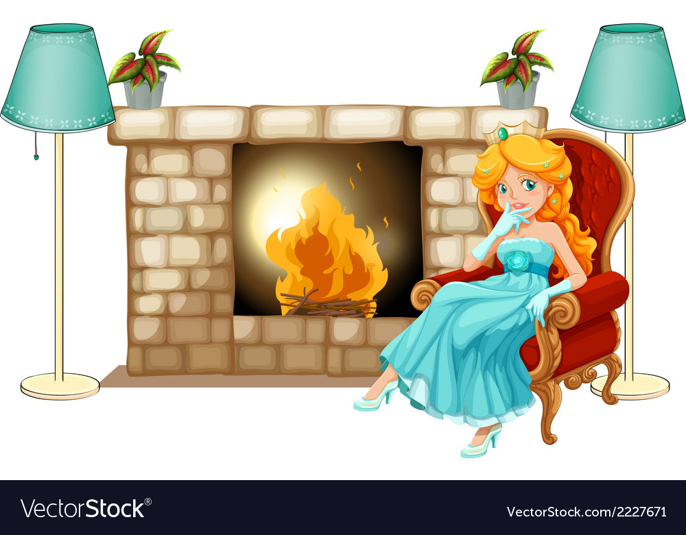 A princess near the fireplace vector | Price: 1 Credit (USD $1)