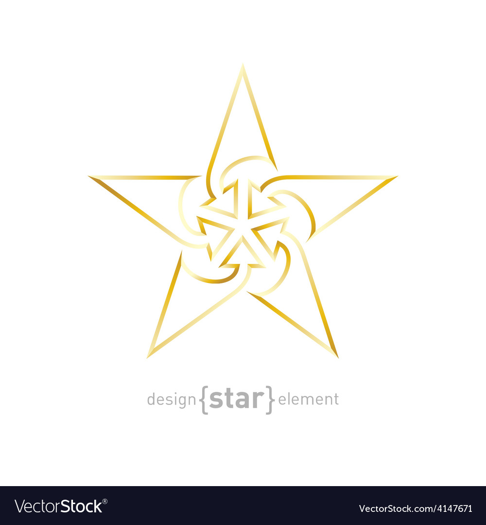 Abstract gold star with arrows made of thin lines vector | Price: 1 Credit (USD $1)