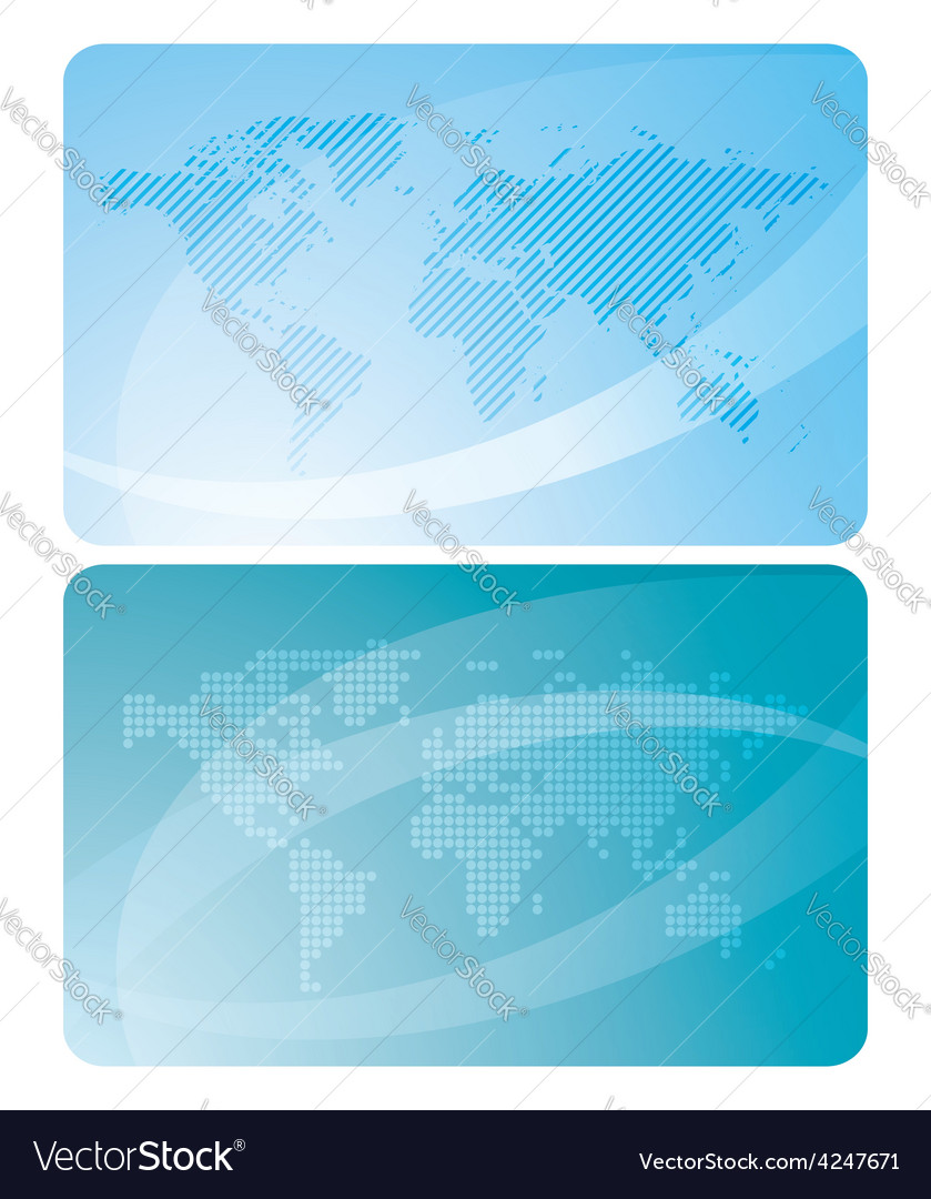 Blue cards with abstractions and maps of the world vector | Price: 1 Credit (USD $1)