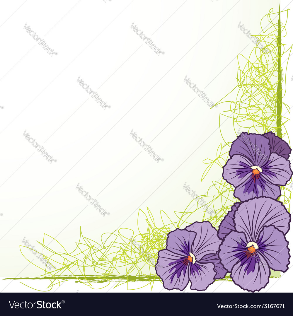 Border with violet pansies vector   Price: 1 Credit (USD $1)
