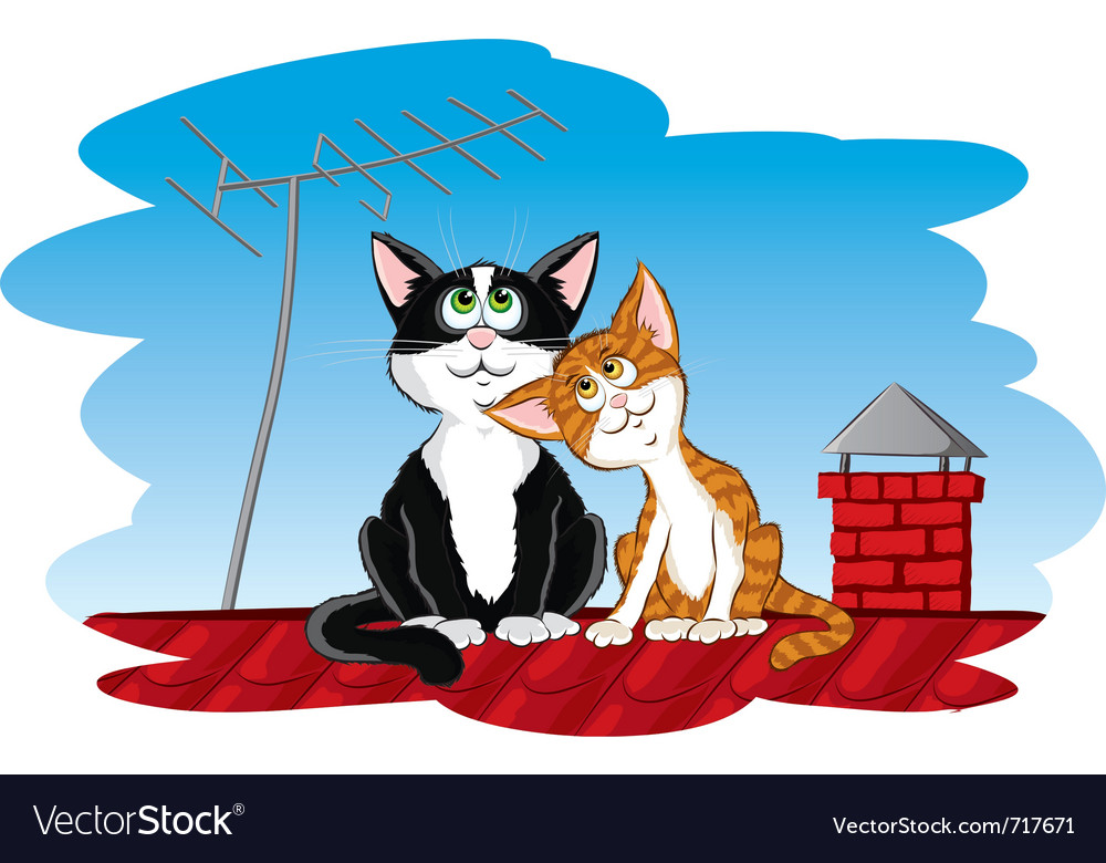 Cats on the roof vector | Price: 1 Credit (USD $1)