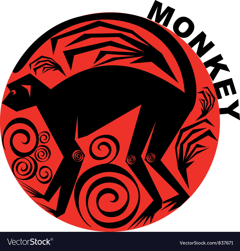 Chinese horoscope monkey vector | Price: 1 Credit (USD $1)