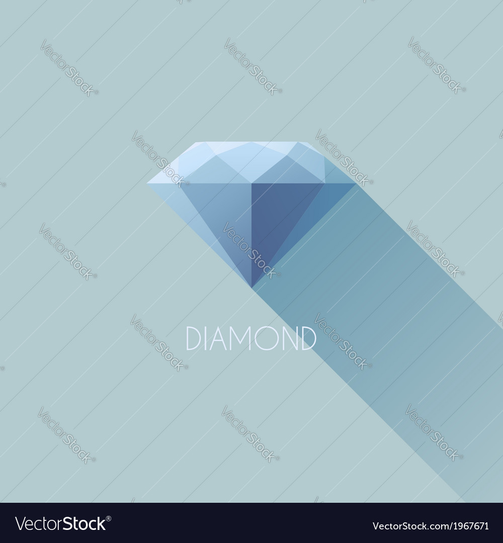 Diamond flat icon with long shadow vector | Price: 1 Credit (USD $1)